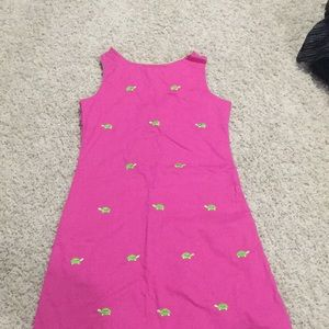 Rare editions mini dress hot pink with greenturtle